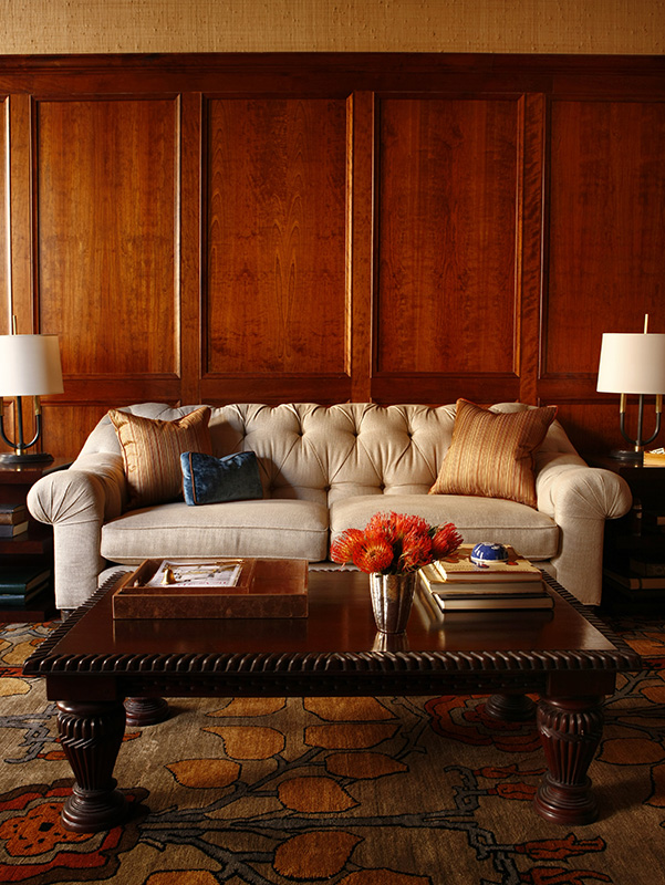 bespoke interiors, quality, high end interior design, federal style, paneled room, tufted sofa