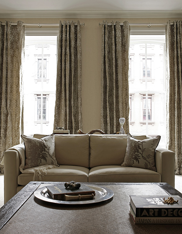 condo interior design, historic renovation, curtains, throw pillows, found objects, classic, vintage furniture