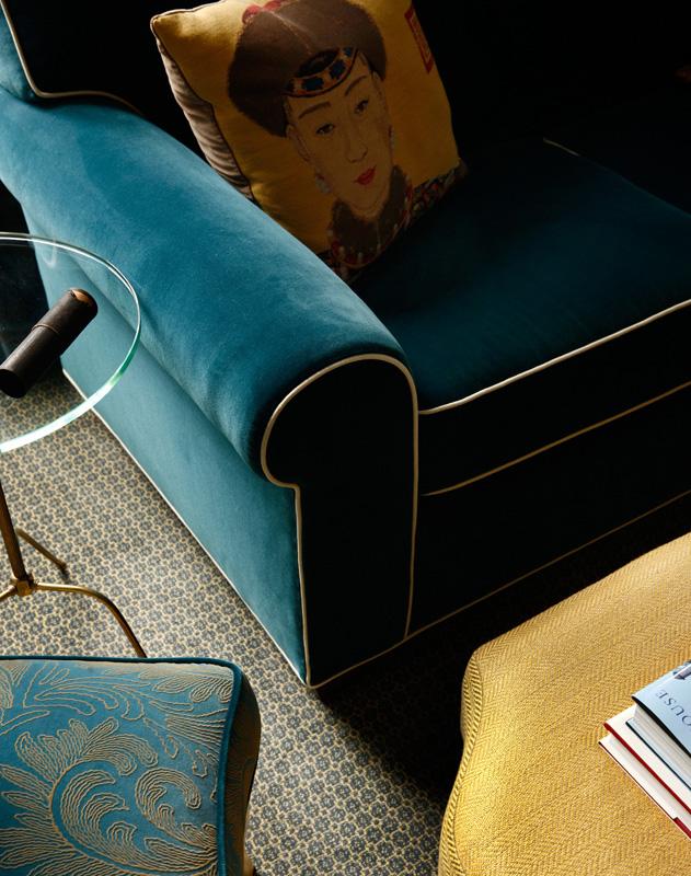 classic interior design, custom furniture, texture, jewel tones, attention to detail, modernism