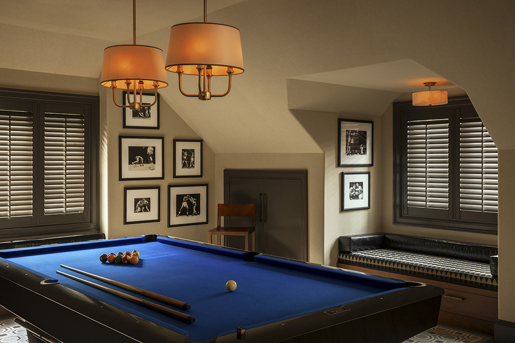 lifestyle, pool table, banquette, custom design, jewel tones, Interior, beautiful interior design, style