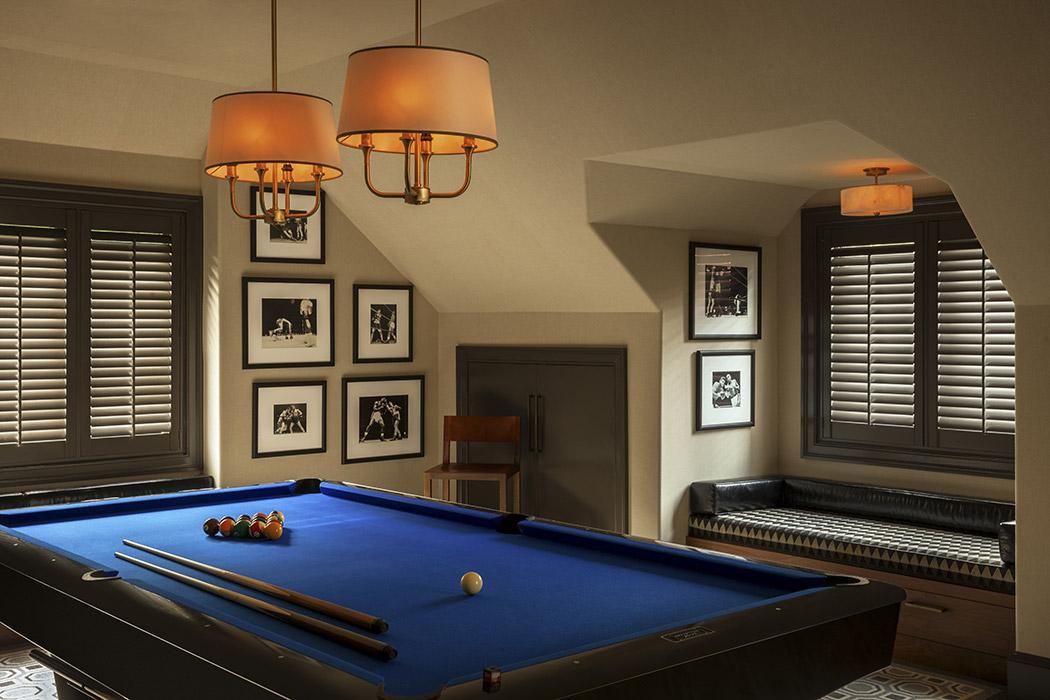 lifestyle, pool table, banquette, custom design, jewel tones, Interior, beautiful interior design, style